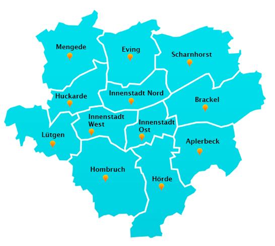 Stadtteile Winterdienst Schnee- Eisbeseitigung Dortmund